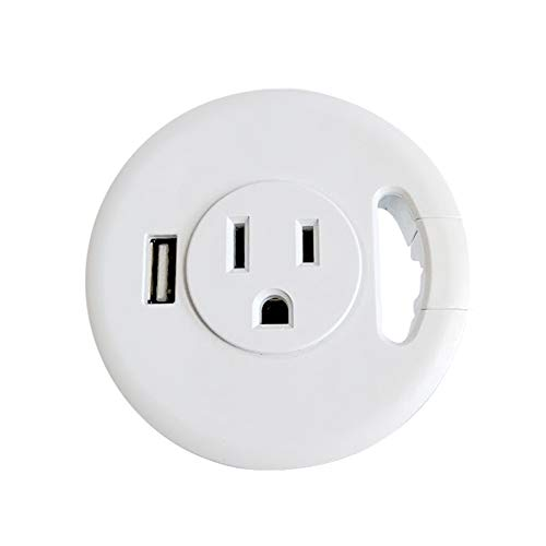 Power Desk Grommet, Recessed Outlet for Computer Desk, Extension Cord or Power Strip for USB Charging Station, Power Station for Desktop Computer, USB Charging Hub with Cable Management (White)