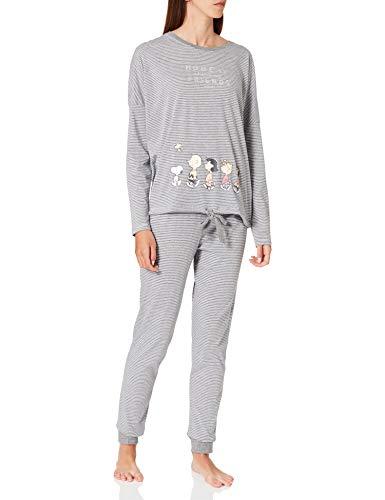 Women' Secret Pijama Largo algodón, Gris Oscuro, L para Mujer