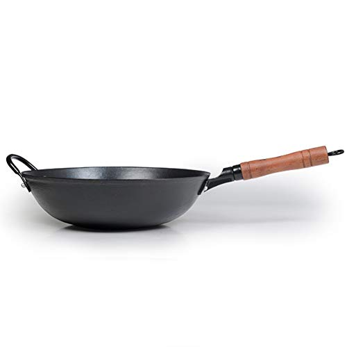 ZhenSanHuan Cast Iron Woks and Stir Fry Pans, No Coating, Induction Suitable, Flat Bottom (34CM/13.4in)