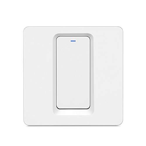MOES WiFi Smart Lichtschalter Druckknopf Smart Life/Tuya APP Fernbedienung Funktioniert mit Alexa Google Home für die Sprachsteuerung (1 Gang Smart Switch)
