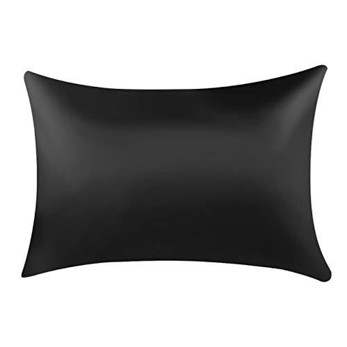 KEPOHK Funda de Almohada de satén de Seda Cómoda 48x74cm para Cama Fundas de Almohada Individuales black50x66cm