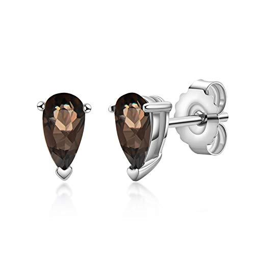 AINUOSHI Women's Earrings, Sterling Silver Earrings, Natural Smoke Crystal Earrings, Gifts For Women.(Pear shape/Natural Smoke Crystal)