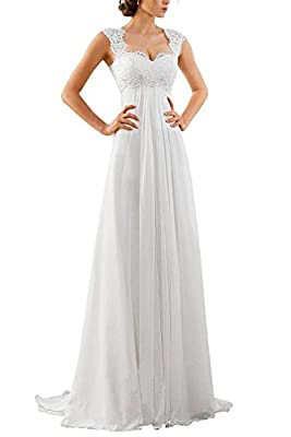 Women's Sleeveless Lace Chiffon Evening Wedding Dresses Bridal Gowns US 8 White