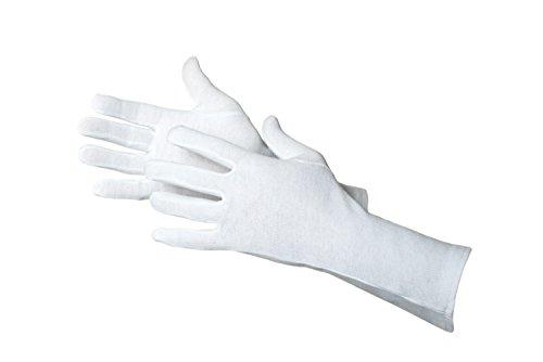 Jah Blanco:Tex 3101 Baumwollhandschuh 12 Paar oekotex mittelschwer 35 cm lang weiß Gr. 8