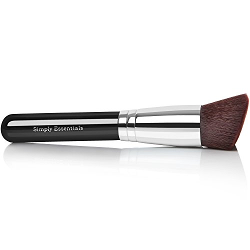 BEST KABUKI BRUSH Angled Top - For Perfect Natural Look - Use For Liquid, Cream Mineral, & Bare Powder Foundation & Face Cosmetics, Super Soft Dense Synthetic Bristles, Case Included
