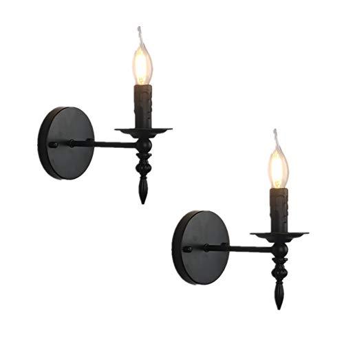 Onoic Lampada Da Parete Vintage Industriale Interno Lampada Da Muro Metallo Nero Retro E14 Candela Ferro LED Per Casa Bar Ristoranti Club (2-Pack) [Classe Di Efficienza Energetica A]