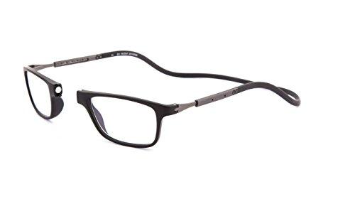SPORTS WORLD VISION's Slastic Clic Style Magnetic Occhiali da lettura (nero e grigio) Jabba 001 Occhiali da vista unisex resistenti e durevoli con custodia morbida, lenti antiriflesso e lati, 2.50