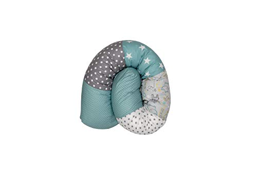 Cojín protector para cuna de ULLENBOOM ® cojín chichonera en forma de serpiente safari menta (ideal para proteger al bebé de los barrotes de la cuna o como cojín de apoyo)
