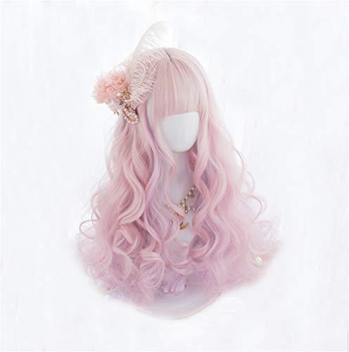 KONNIQIWA Lolita Wig 50cm Long Curly Pink Mixed Purple Fringe Bangs Cute Party Cosplay Wig for Women Girls