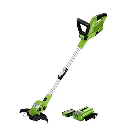 chiluer Hand Hay Mower Field Mower Best Partner 10'' Light Weight Cordless String Trimmer Edger 18V Lithium Lon Auto Single-Line Feed Green