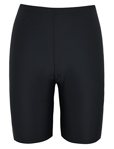 Mycoco Women's Long Bike Swim Shorts UPF 50+ Swim Bottom Board Shorts Rash Guard Shorts Black 18