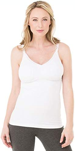 Ingrid Isabel Seamless Drop Cup Nursing Cami Maternity Top Grows with You White product image