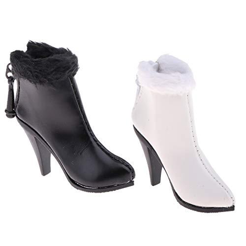 Sharplace 2 Pares de Zapatos de Tacones Altos 1/6 Botines para Cuerpo de de Acción Femenina de 12 ''