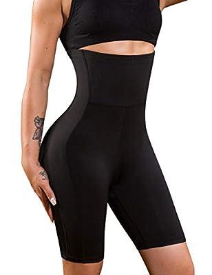 Nebility Women Waist Trainer Shapewear High Waist Thigh Slimmer Tummy Control Butt Lifter Panty (2XL, Black) by