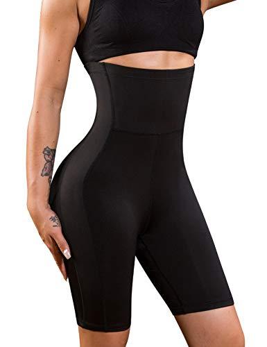 Bafully Damen stark formend Po Taille & Oberschenkel Former hohe Taille Miederhose Panty Bauch Kontrolle Shaping Hose Figurformend Push-up Wäsche (Schwarz, XL)