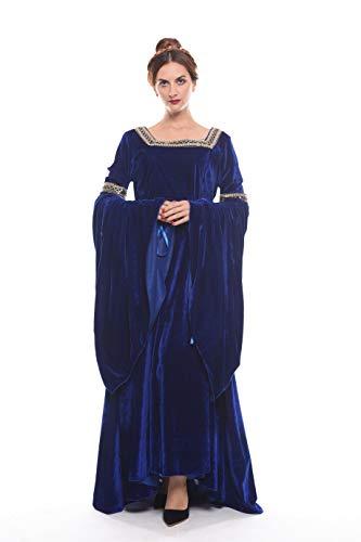 NSPSTT Medieval Dress Women Queen Costume Renaissance Irish Over Dress Halloween Costume Velvet Navy blue X-Large