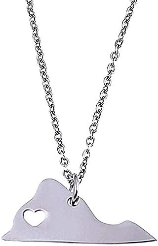 LKLFC Collar para Mujer Collar para Hombre Collana Collana Plata Virginia Tarjeta Colgante Collar corazón Tarjeta Encanto joyería Colgante Collar Regalo para niñas niños