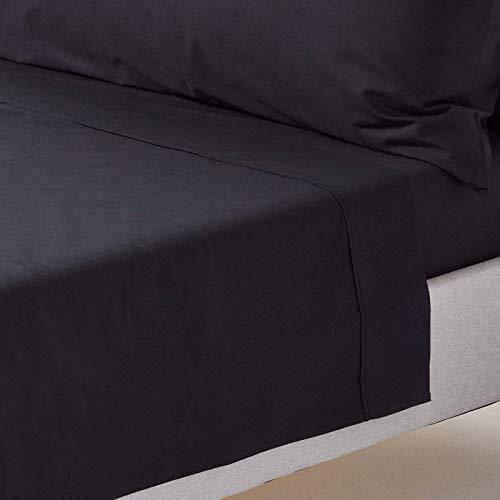 Homescapes Bettlaken Betttuch/Haustuch, unifarben, 178 x 255 cm, 100% reine ägyptische Baumwolle, Fadendichte 200 Perkal-Bettlaken, schwarz