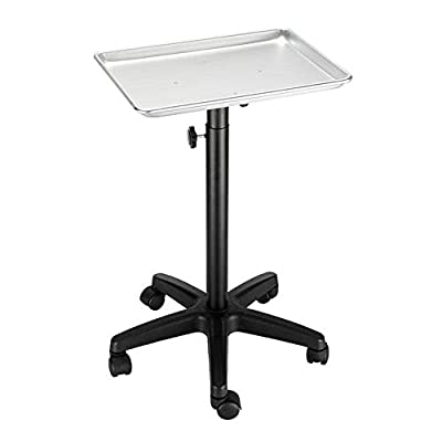 Mefeir Salon Rolling Aluminum Tray Cart on Wheels for Hair Stylist, Hairdressing Tool Storage Trolley, Hair Coloring Beauty SPA Service Holder