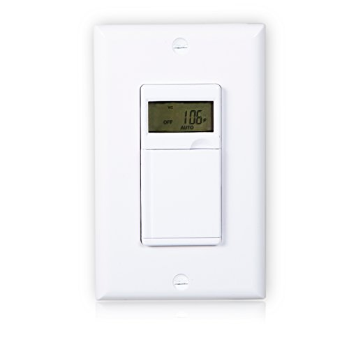 Maxxima Digital In-Wall 7 Day Programmable Timer Light Switch up to 18 On/Off Settings, Adjusts for daylight savings time, 3 Way Compatible, Wall Plate Included, White