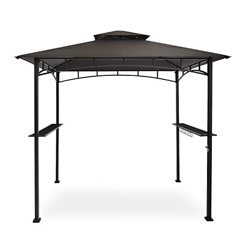 FAB BASED 8x5 Grill Gazebo Canopy for Patio Outdoor BBQ Gazebo with Shelves Barbeque Grill Canopy with Extra 2 LED Lights