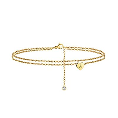 Ursteel Ankle Bracelets for Women, A Initial Anklets 14K Gold Plated Dainty Layered Heart Letter A Anklets for Women Teen Girls