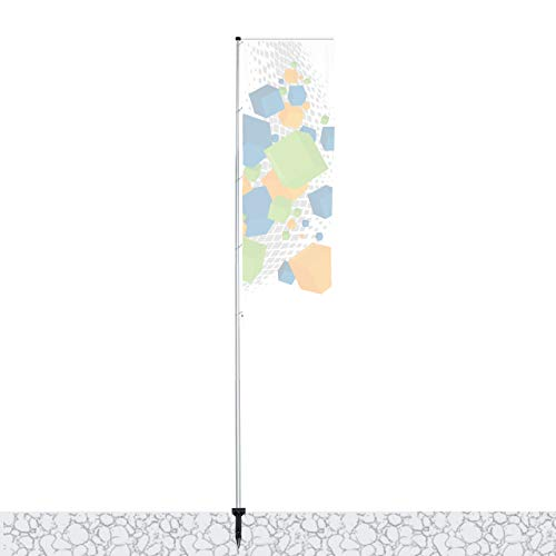Vispronet Mobiler 5,40 m Fahnenmast mit Ausleger T-Pole® 100 ✓ versch. Bodenelemente ✓ teleskopierbar ✓ inkl. Transporttasche (Einschlaghülse)