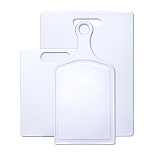 Farberware Plastic Cutting Board, Set of 3 with Paddle, White