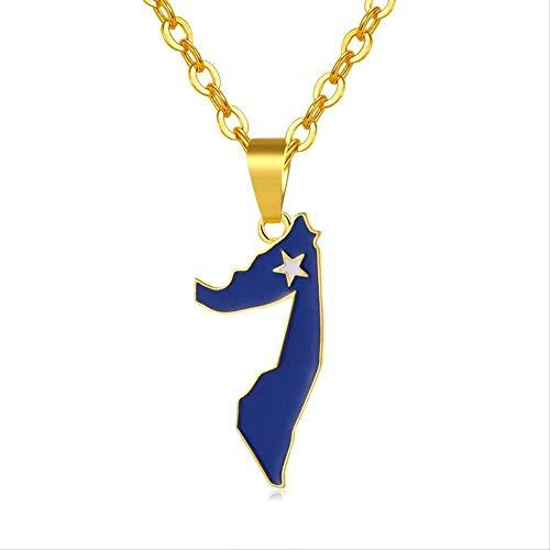 Colgantes y Collares con Mapa y Bandera de Somalia de Color Dorado para Mujeres/Hombres, Collar Unisex de Somalilandia, joyería, bisutería para Mujer