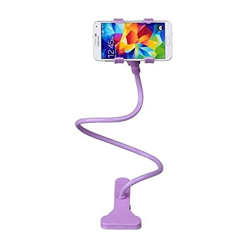 Soporte universal para teléfono móvil flexible ajustable para teléfono celular Clip perezoso Home Bed Desktop Mount Stand Sm Phone Stand (solo soporte), morado