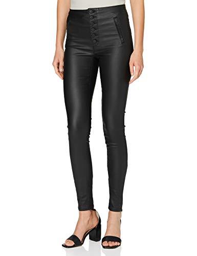 ONLY Damen ONLROYAL HW Coated Button Pant PNT RP Hose, Black, S/30