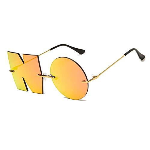 ZYIZEE Gafas de Sol Letra NO Gafas de Sol Metal Sunglass UV400 Lentes sin Marco para Conductor