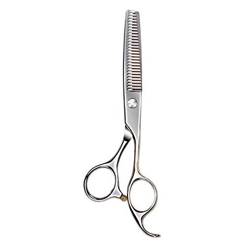 QMFS Tijeras para el Cabello, Tijeras de Corte de Pelo para bebés, Tijeras de peluquería de 6 Pulgadas Tijeras de Acero Inoxidable para Adelgazar con Bolsa de Cuero La Seguridad Silver-Dental Shear