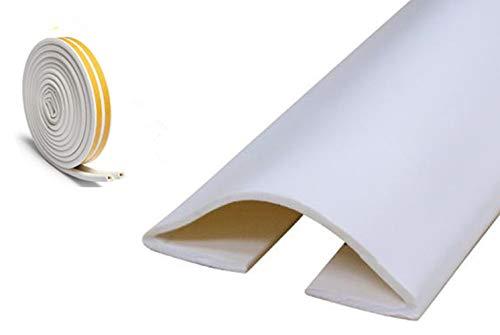 """Under Door Draft Blocker Draught Excluder Self-Adhesive Rubber Door Bottom Seal Strip Under Door Sweep Weather Stripping Door Gap Stopper Soundproofing Noise Insulation 39"""" Long (White)"""