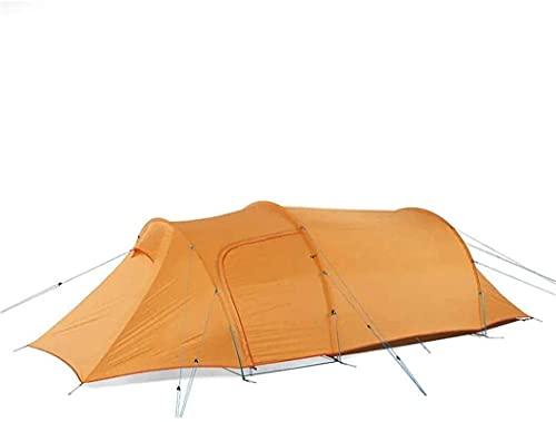 Ankon Tienda de Camping de Familia portátil 20D 210T Camping Impermeable Camping Sombrilla 3-4 Personas Túnel Tienda para mochileros Pesca (Color : Orange, Size : 235x105x210cm)