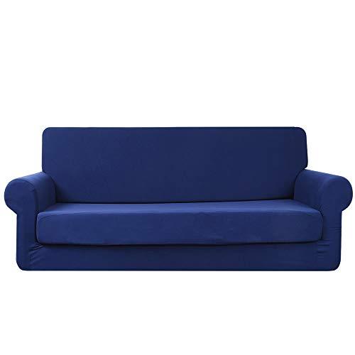 Abodos Sofabezug, Mit Stretch-Gebürstet Milch Seidenstoff, All-Inclusive-Sofabezug, Möbel Staubschutz, Schutzkissen, 1-Teilig Fit Stretch Sofa Covers,Blau,Four seat