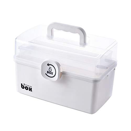 MAJOZ0 Hausapotheke, Hausapotheke Box,Ablagefach Arzneimittelbox,Plastik Erste Hilfe Box (34 x 19 x 22,5 cm)