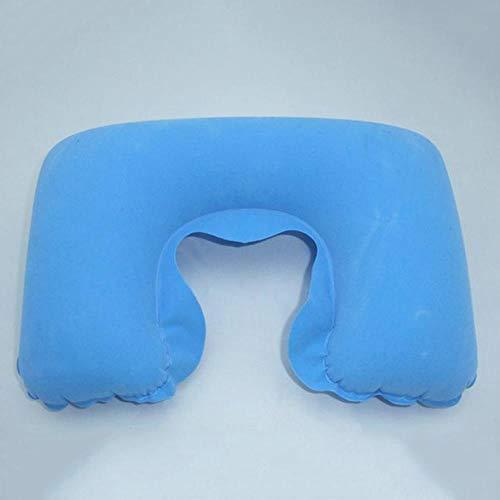 SSX Oreiller Gonflable Coussin d'air Repose-Cou en Forme De U Coussin De Cou Bureau Conduite Sieste Support Appui-Tête, Bleu Ciel