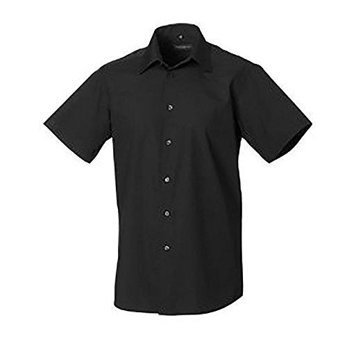 Russell Collection Easy Care Tailored Poplin Hemd für Männer, kurzarm (4XL) (Schwarz)