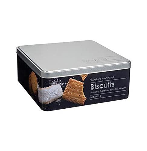 Boite alimentaire - Relief II - biscuits - 20 x 20 x 8.2 cm - Fer et étain - Noir