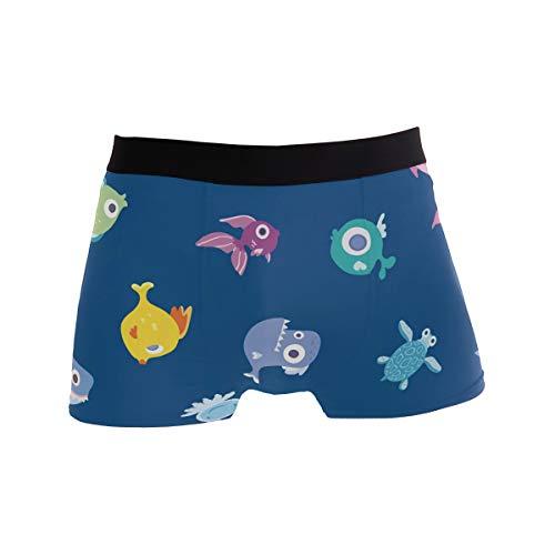 PINLLG Herren-Boxershorts mit niedlichem Cartoon-Fisch-Design, für Jungen, Jugendliche, Polyester, Spandex, atmungsaktiv Gr. X-Large, mehrfarbig
