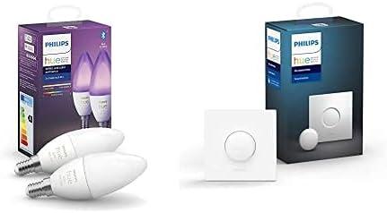 Philips Hue Bombilla Inteligente Vela LED E14, 5.2 W, con Bluetooth, Luz Blanca y de Colores + Interruptor Smart Button, Compatible con Alexa y Google Home