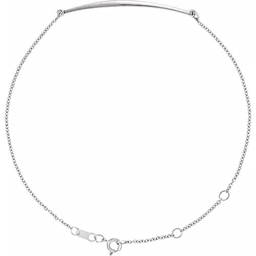 Oro blanco de 14 quilates 36,84 x 4,38 mm 6 1/2 7 1/2 pulgadas pulido curvo barra pulsera joyería regalos para mujeres