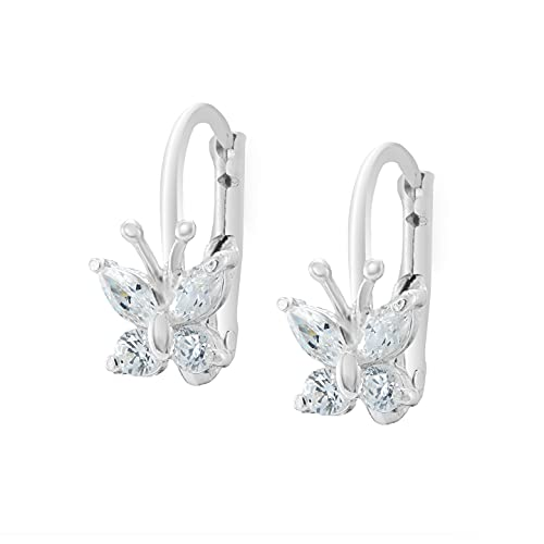Pendientes de plata 925 con circonitas con el tema de la () – Pendientes de plata – Pendientes niña – Cristales Swarovski – Joyas de mujer plata, Circonita cúbica,