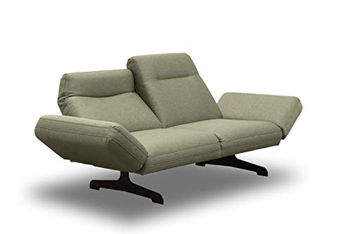 DOMO. collection Arezzo 2-Sitzer Couch Rückenfunktion, Designer Garnitur Relaxfunktion 2er Polster, grün, 219x99x94