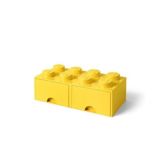 Room Copenhagen-40061732 Caja de Almacenaje Apilable, Ladrillo 8 pomos, 2 Cajones, 9.4 l, Color Amarillo (Yellow), 50 x 25 x 18 cm (Lego 40061732)