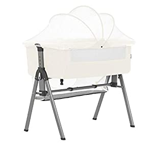 Dream On Me Lotus Bassinet Bedside Sleeper, Ivory, Crib