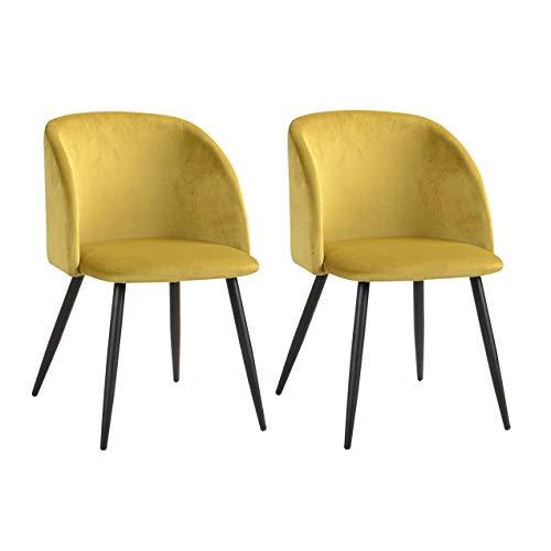 MEUBLE COSY Lot de 2 Fauteuils de salle à manger et de salon, en velours jaune, style Scandinave, pieds en métal noirs.