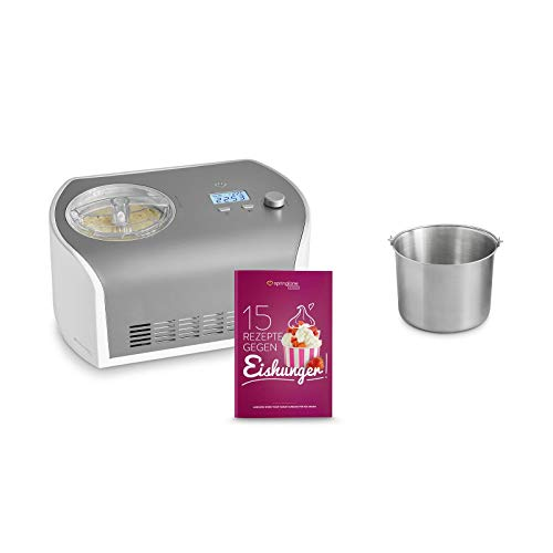 Eismaschine Elli 1,2 L mit selbstkühlendem Kompressor 135 W inkl. Edelstahl Zusatzbehälter, aus Edelstahl mit entnehmbarem Eisbehälter, inkl. Rezeptheft
