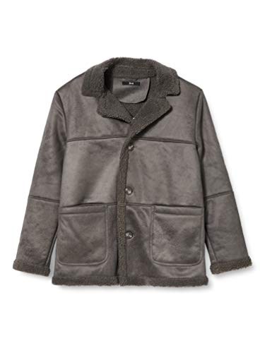 Amazon-Marke: find. Herren Shearling-Mantel, Grau, XL, Label: XL
